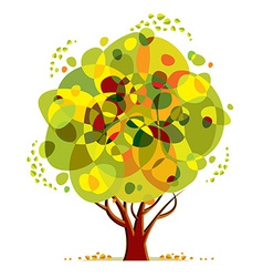 Bright color tree cartoon style vector