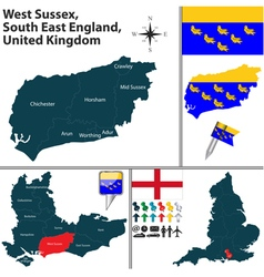 West sussex south east england vector