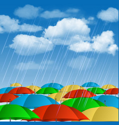 Colorful umbrellas in rain vector