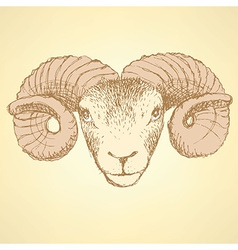 Sketch new year ram in vintage style vector