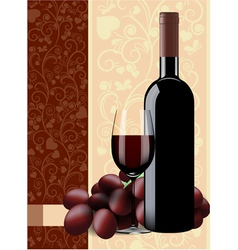 Bottle glass of wine and grapes on floral backgrou vector