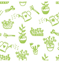 Garden flowers and tools seamless pattern vector