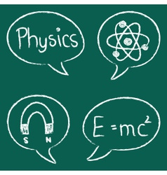 Physics icons speech bubbles school table vector