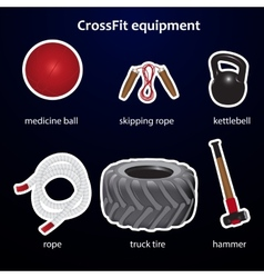 Set of crossfit sport equipment vector