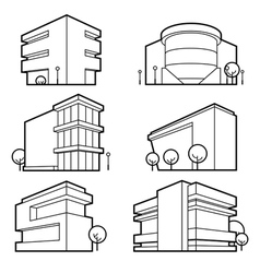 Office building icons vector