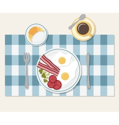 Breakfast table setting vector