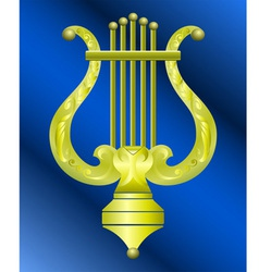 Musical instrument lyre decorated with ornament vector