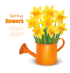 Spring flowers with watering can vector