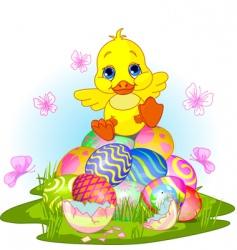 Easter duckling vector