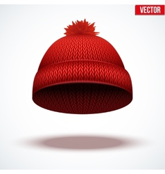 Knitted woolen cap winter seasonal red hat vector