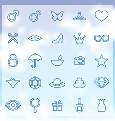 25 beauty glamour icons set vector
