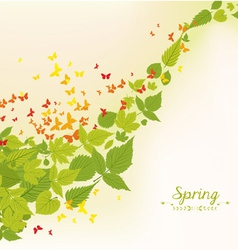 Spring fall leaves and butterflies background vector