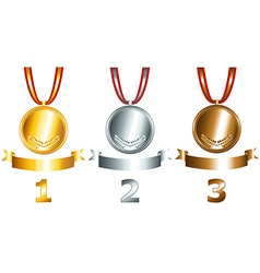 Gold silver and bronze games related set vector