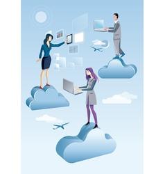 Cloud computing men and woman vector