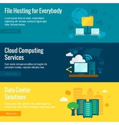 File hosting flat banners set vector