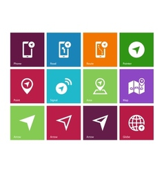 Navigator icons on color background vector