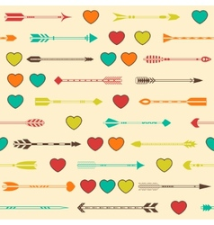 Seamless pattern with indian arrows and hearts in vector