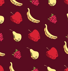 Seamless pattern of fruits and berries on brown vector