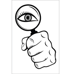 Magnifying glass with eye vector