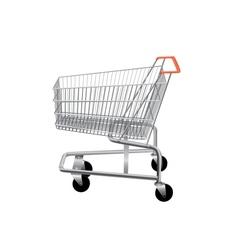 Empty supermarket shopping cart vector