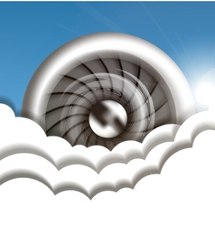 Jet engine in the sky vector