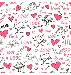 Seamless love and heart background vector