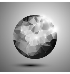 Abstract black and white shiny polygonal sphere vector
