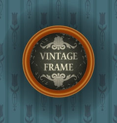 Old wallpaper with vintage frame vector