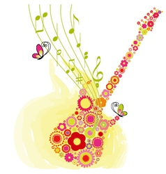 Spring guitar music vector