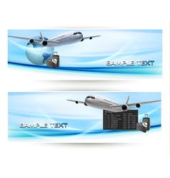 Two travel banners with airline and sky vector