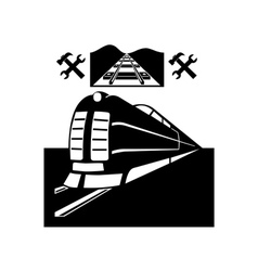 Train and railway line vector