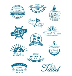 Collection of travel icons vector