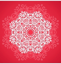 Ornamental round red lace pattern vector