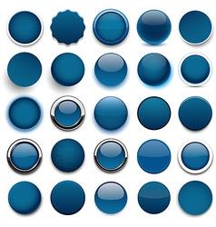 Round dark blue icons vector