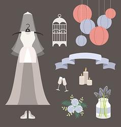 Vintage set of wedding and decorative eleme vector