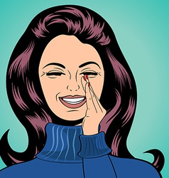 Pop art cute retro woman in comics style laughing vector