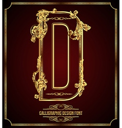 Calligraphic font letter d vector