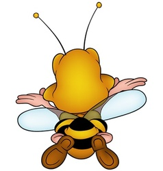 Flying honeybee vector