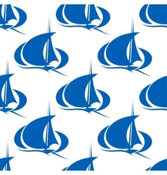 Blue yachts or sailboat seamless pattern vector