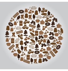 Chocolate brown icons set in circle eps10 vector