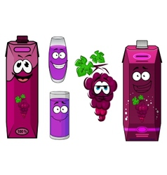 Smiling violet grape juice cartoon characters vector