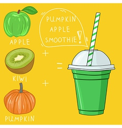 Glass with pumpkin apple smoothie natural bio vector