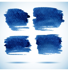 Brushstroke banners ink blue watercolor spot vector