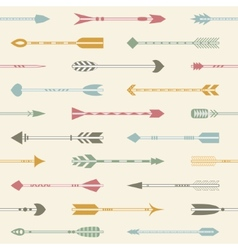 Seamless pattern with indian arrows in various vector