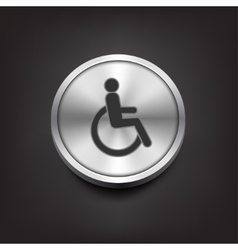 Disabled icon on silver button vector