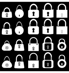 Set of locks silhouettes vector
