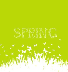 Green spring with floral font vector