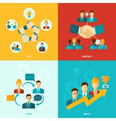 Teamwork icons flat vector