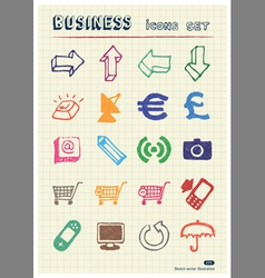 Business media and social network web icons set vector