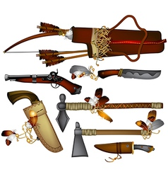 Set of weapons american indian vector